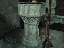 15th Century stone font in All Saint's Church Gresford