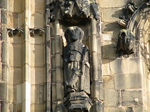 Statue on tower at St Giles Church Wrexham