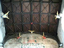 Camberbeam ceiling with flying angels St Giles Church Wrexham