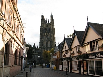 View from High Street of St Giles Church Wrexham