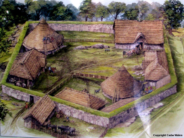 Modern rendering of The Din Lligwy Ancient Village, North Wales. 3 ...