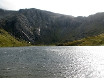 Looking across the lake to Devil's Kitchen and the lower slopes of Glyder Fawr