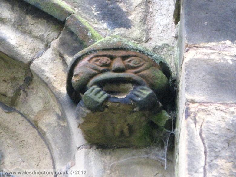 Enlarged picture of Grotesque Stone Carving on Welsh Church