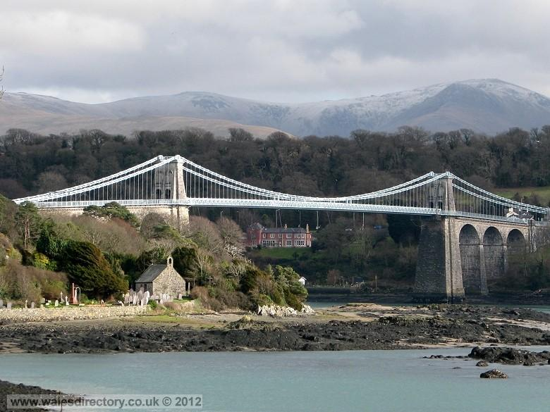 Enlarged picture of St Tysilios Church, Church Island and the Menai Bridge