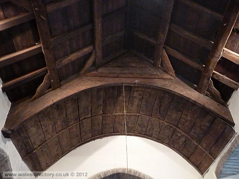 Enlarged picture of Arched Collar Brace Roof at Llanelian yn Rhos Church